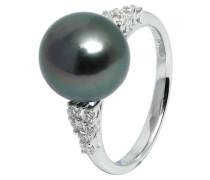 Ring 585 Weißgold mit 12 Diamanten, zus. ca. 0,25 ct. und Tahiti-Zuchtperle 10