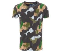 T-Shirt, Camouflage, Brusttasche, Streifen-Details