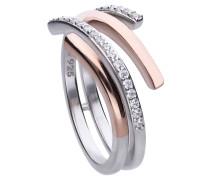 Ring bicolor mit weißen Zirkonia-Steinen und offener Ringschiene 6120751082180