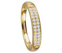 Ring 375 Gelb mit 26 Diamanten, zus. ca. 0,25 ct.