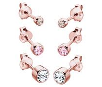 Ohrringe 3er Set Swarovski® Kristalle Basic 925 Silber