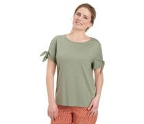 T-Shirt, uni, Schleife am Ärmel, Flammgarn