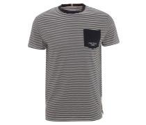 T-Shirt, gestreift, bedruckte Brusttasche