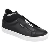 Slip-Ons, Leder, Logo-Print, Socken-Optik