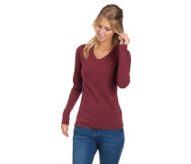 Langarmshirt, Bio-Baumwolle, uni, V-Ausschnitt