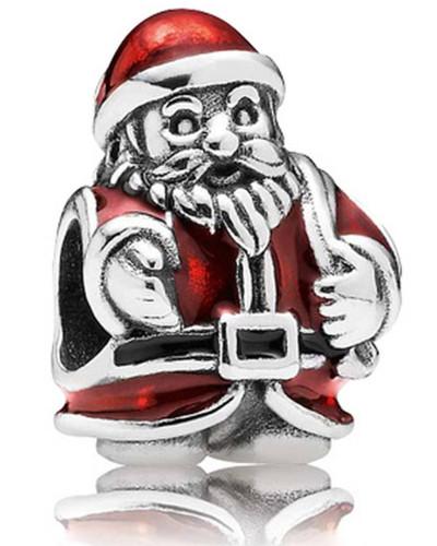 Charm Weihnachtsmann Silber mit Emaille 791231ENMX