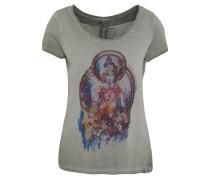 T-Shirt, Front-Print, Melange, Strass