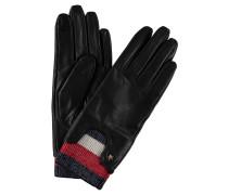 Handschuhe, Leder, elastischer Rippbund, Emblem