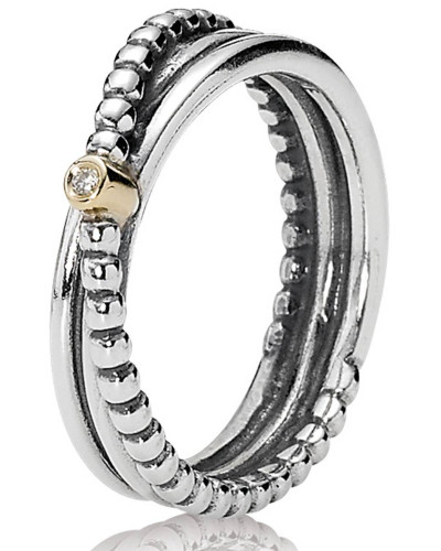 Diamant-Ring Gold mit Silber 190243D, 0,01 ct.