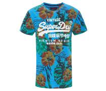 T-Shirt, Schrift-Print, Tropical-Muster, Rundhalsausschnitt