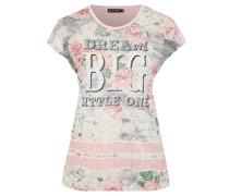 T-Shirt, Nieten-Besatz, Blumen-Print, Schriftzug