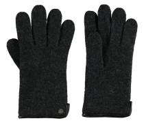Handschuhe, uni, Wolle, Lederrand, Emblem
