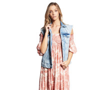 Jeansweste, Destroyed-Details, helle Waschung, Knopfleiste