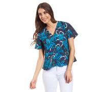 Blusenshirt, Baumwolle, Mustermix, Knopfleiste, leicht ausgestellt, V-Ausschnitt