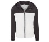 Jacke, zweifarbig, Kapuze, Reißverschluss, Eingrifftaschen, Logo-Print