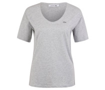 T-Shirt, reine Baumwolle, meliert, Logo-Stickerei