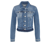Jeansjacke, Destroyed-Look, offener Saum
