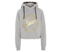 Sweatshirt, Logo-Print, Metallic, offener Saum