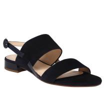 Sandalette, Veloursleder, Lack-Details, Blockabsatz