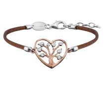 Armband Seide Braun, Herz Rotvergoldet, Blätter Silb