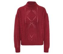 Pullover, Woll-Anteil, Zopfmuster, unifarben, Stehkragen