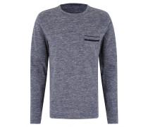 Langarmshirt, Baumwolle, Brusttasche, Samt-Detail, meliert