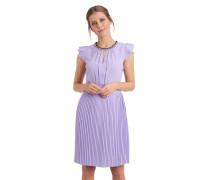 Kleid, Schlüssellochausschnitt, Volant-Ärmel, Plisseerock, tailliert