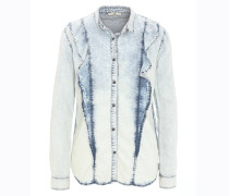 Hemdbluse, Jeans-Optik, Waschung, Volants