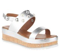 Sandaletten, Metallic-Look, Schmuckperlen, Statement-Sohle