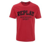 T-Shirt, Schrift-Stickerei, Rundhalsausschnitt
