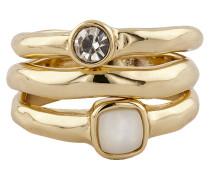 Ring-Set veret mit Kristall und Perlmutt Messing veret gelb 430070050