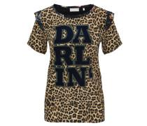 Blusenshirt, Print, Leoparden-Muster, Blumen-Rüschen
