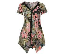 Tunika-Kleid, V-Ausschnitt, tropischer Print