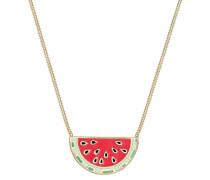 Halskette Melone Frucht Sommer Emaille 925 Sterling Silber