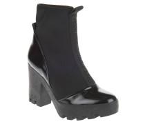 Ankle Boots, Neopren, Lack-Optik, Plateau