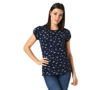 T-Shirt, Allover-Print, Wal-Motiv, Ärmel-Cut-Out, Flammgarn