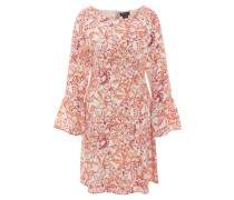 Volant-Kleid, Trompeten-Ärmel, Blumen-Muster, Unterrock