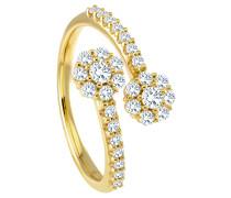 Ring 585 Gelb mit 30 Diamanten, zus. ca. 0,55 ct