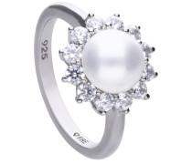 Perl-Ring  mit weißen Zirkonia-Steinen