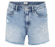 """Jeans-Shorts """"Mary"""", Straight Fit, High Waist, Stickerei, Destroyed-Look"""