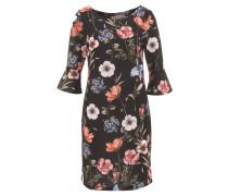 Kleid, Halbarm, Blumenmuster, Volant-Ärmel