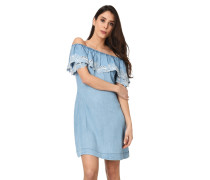 Kleid, Denim-Optik, Lochstickerei, Off-Shoulder