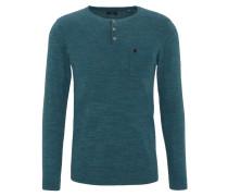 Pullover, Henley-Ausschnitt, Brusttasche, meliert