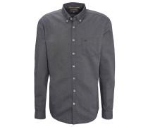 Freizeithemd, Regular Fit, Jeans-Optik, Button-Down-Kragen