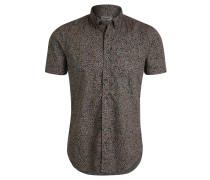Freizeithemd, Regular Fit, Kurzarm, Baumwolle, Allover-Print, Emblem