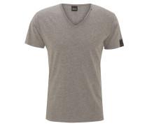 T-Shirt, offener Saum, V-Ausschnitt, Rückennaht