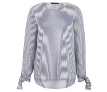 Blusenshirt, Rundhalsausschnitt, Binde-Manschetten, Streifen-Muster