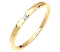 Ring Verlobung Solitär Diamant 0.02 Ct. 585 Gelbgold