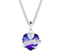 Halskette Herz Glamourös Swarovski® Kristalle 925 Silber