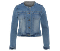 Jeansjacke, Rundhalsausschnitt, verwaschen
